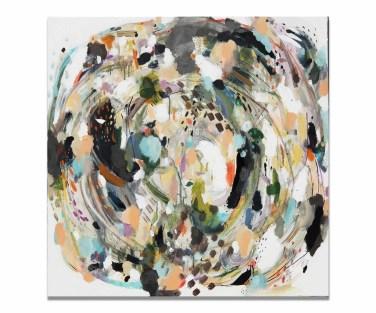 Boivin, Zoé. Forestia, 2017, 30 x 30 pouces, acrylique, aquarelle, encre, pastel, fusain, zinc et graphite sur toile.