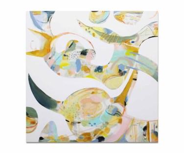 Boivin, Zoé. L'épopée, 2018, 36 x 36 pouces, acrylique, aquarelle, encre, pastel, fusain, zinc et graphite sur toile.